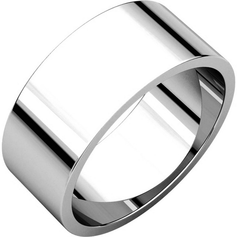 White Gold 8mm Wide Flat Plain Wedding Band