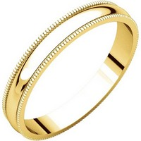 Item # N23853E - 18K Yellow Gold Milgrain 3MM Wide Plain Wedding Band