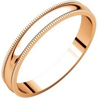 Item # N23853R - 14K Rose Gold Milgrain 3mm Wide Plain Wedding Band