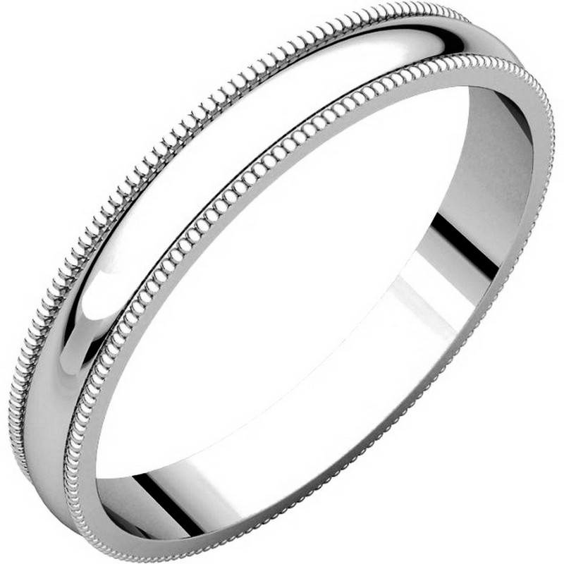 18K White Gold Milgrain 3 MM Wide Plain Wedding Ring