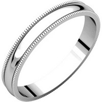 Item # N23853W - 14K White Gold Milgrain 3 MM Wide Plain Wedding Ring