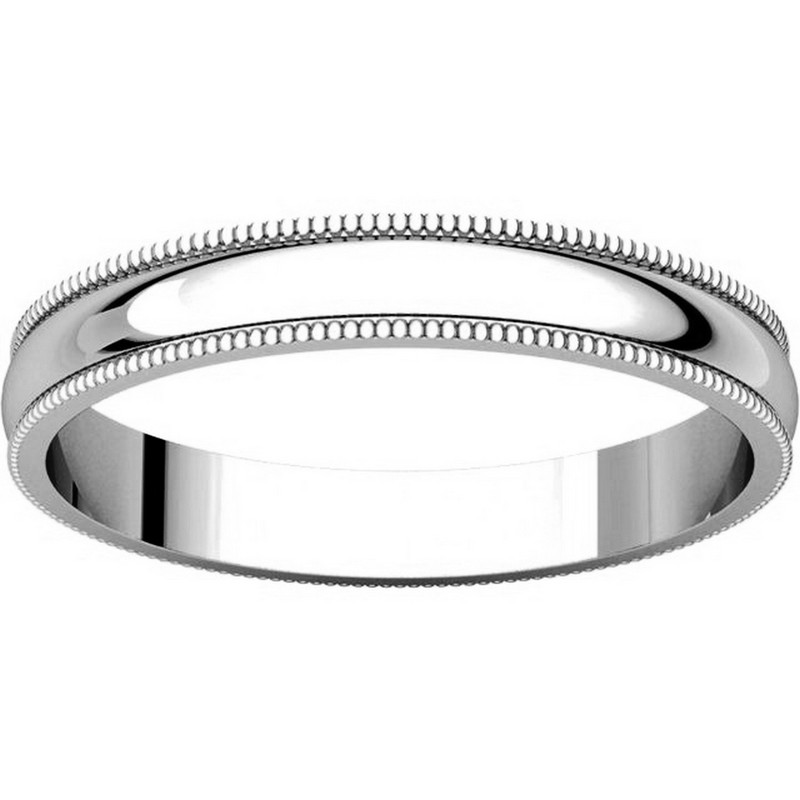 Item # N23853W - 14K White Gold Milgrain 3 MM Wide Plain Wedding Ring View-3