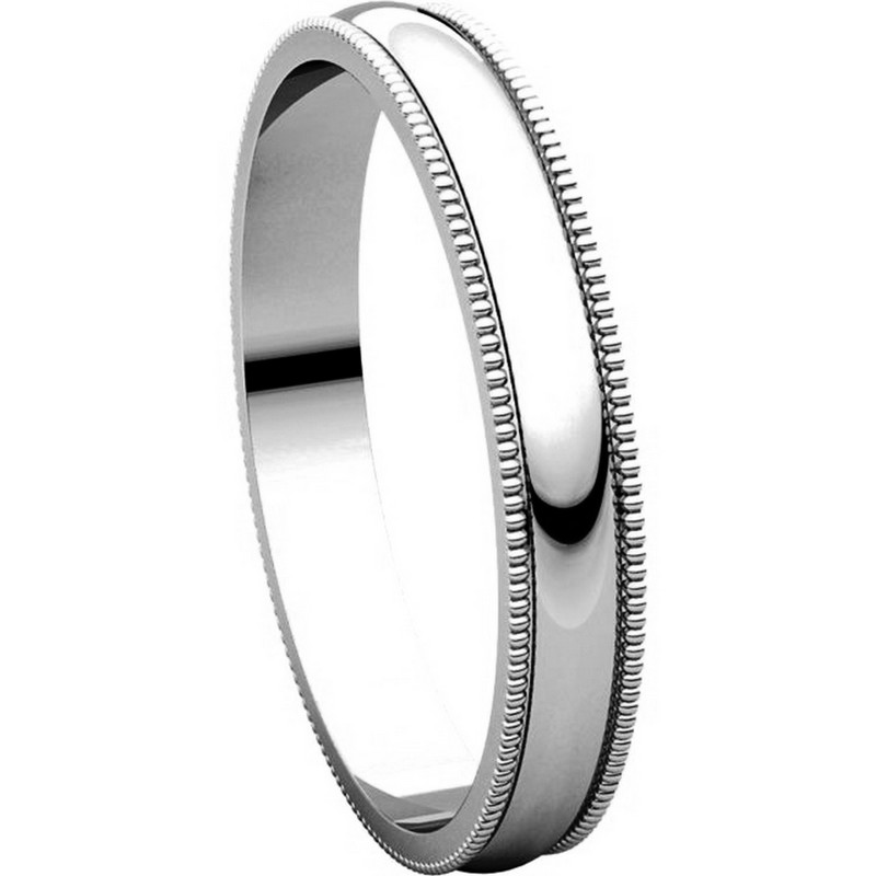 Item # N23853W - 14K White Gold Milgrain 3 MM Wide Plain Wedding Ring View-5