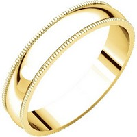 Item # N23864E - 18K Yellow Gold 4mm Wide Milgrain Plain Wedding Band