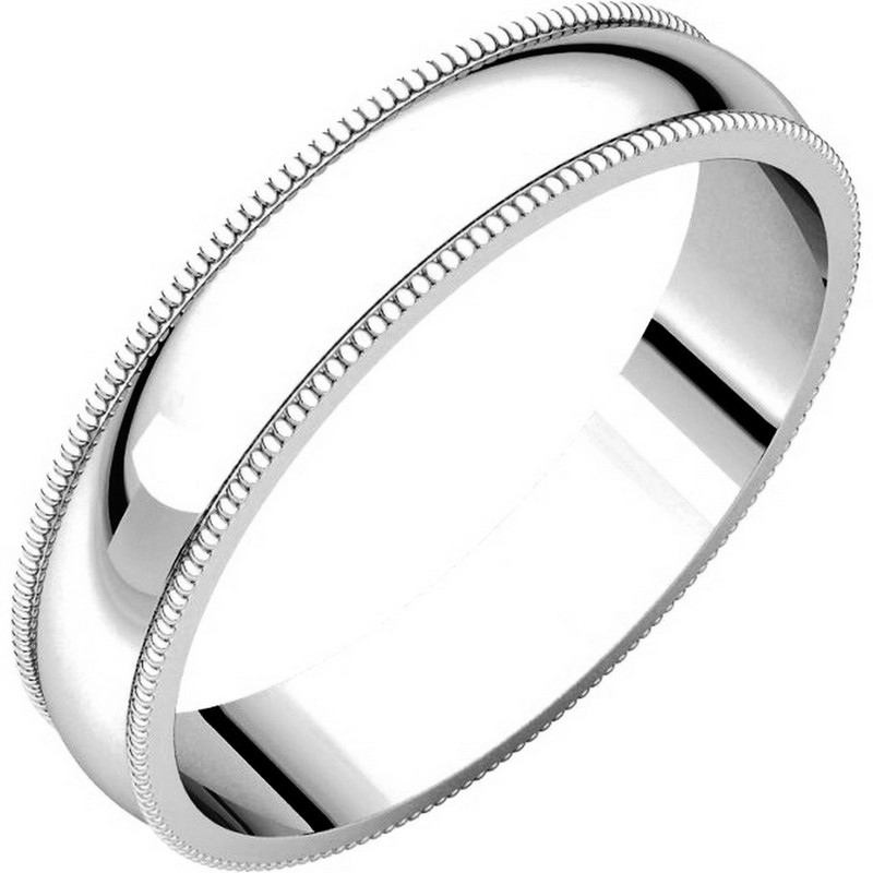 Plain Wedding Band White Gold 4mm Wide Milgrain Edge