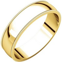 Item # N23875E - 18K Plain Wedding Band Yellow Gold Milgrain Edge