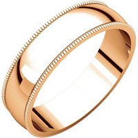 Item # N23875RE - 18K Rose Plain Wedding Band Gold Milgrain Edge