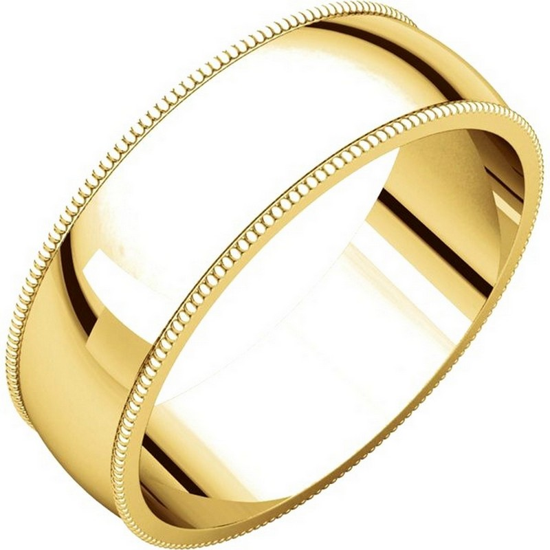 Yellow Gold  Milgrain Edge Plain Wedding Band