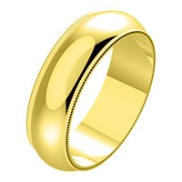 Item # N23886E - 18K Yellow Gold Milgrain Edge Plain Wedding Band