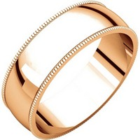 Item # N23886RE - 18K Rose Gold Milgrain Edge Plain Wedding Band