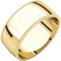 Item # N23898E - 18K Yellow Gold Milgrain Edge Plain Wedding Band