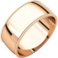 Item # N23898RE - 18K Rose Gold Milgrain Edge Plain Wedding Band