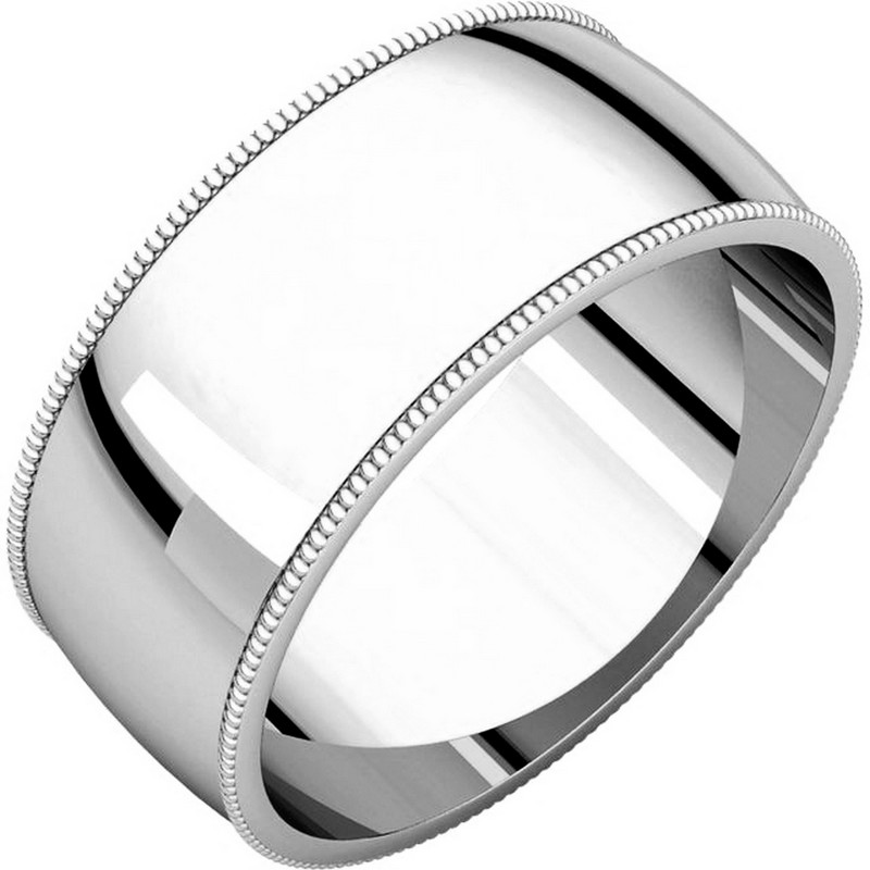 White Gold 8mm Wide Milgrain Edge Wedding Ring