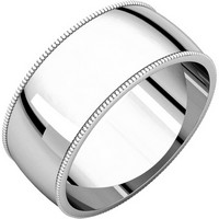 Item # N23898WE - 18K White Gold 8mm Wide Milgrain Edge Wedding Ring