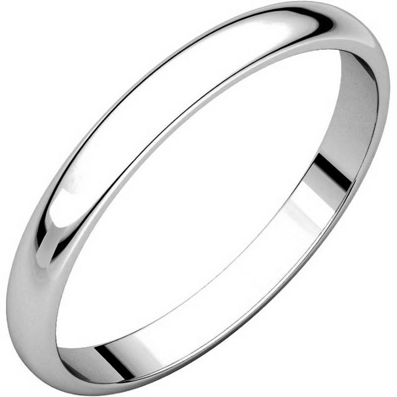 14K White Gold 2.5mm Wide Plain Wedding Ring