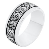 Item # R11011AG - Silver Verona Lace Wedding Band