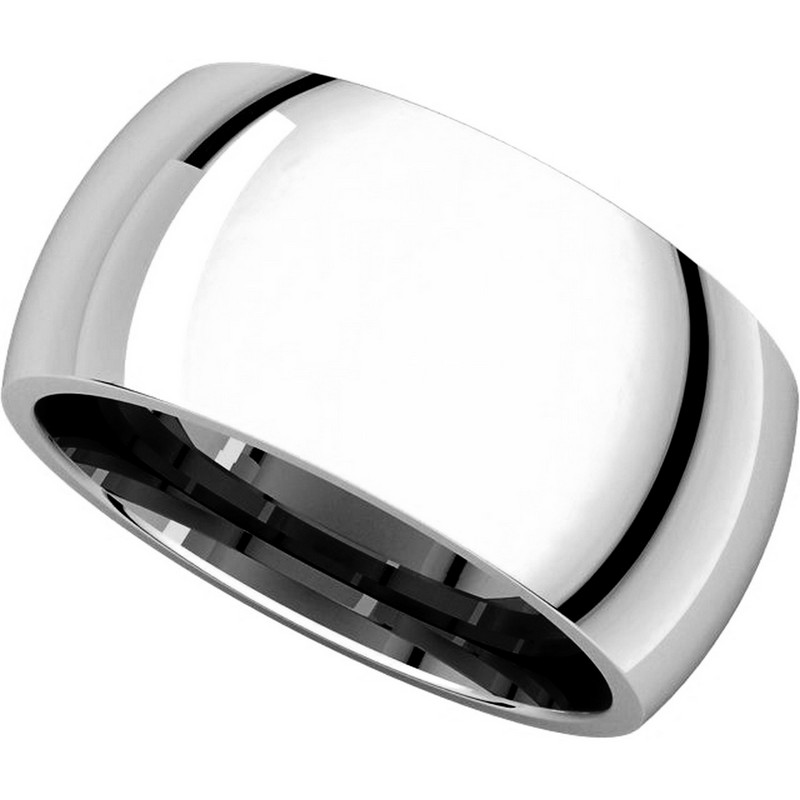 Item # S116872W - 14K White Gold Heavy 10mm Wide Comfort Fit Wedding Band. View-4