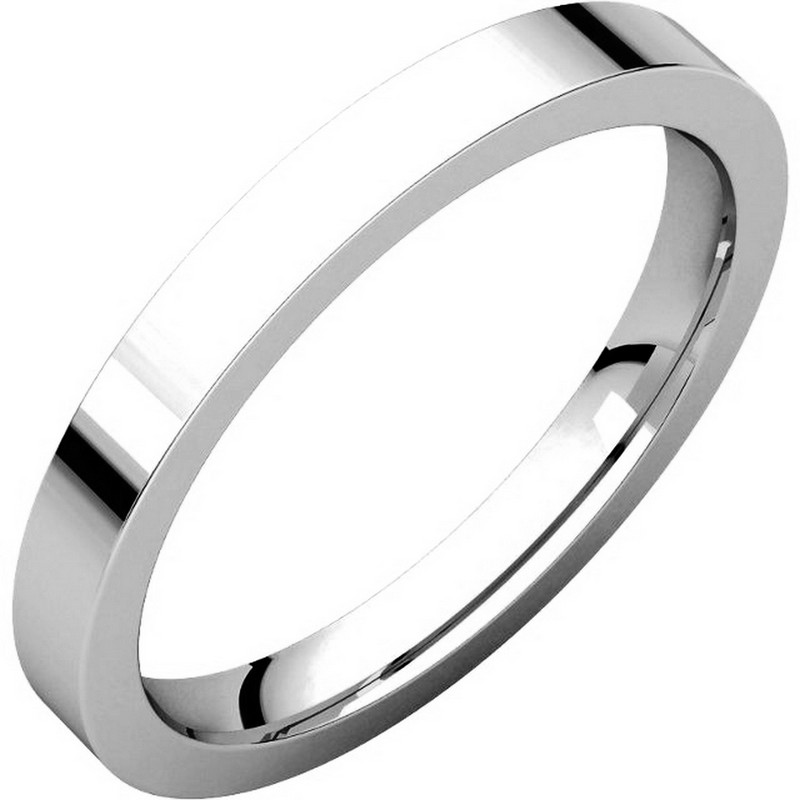 Item # S231376W - 14K White Gold Comfort Fit Flat Band View-1