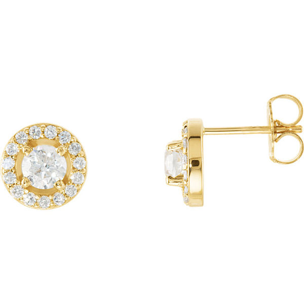 Item # S339863 - 14Kt Yellow Gold Diamond Halo Stud Earrings View-1