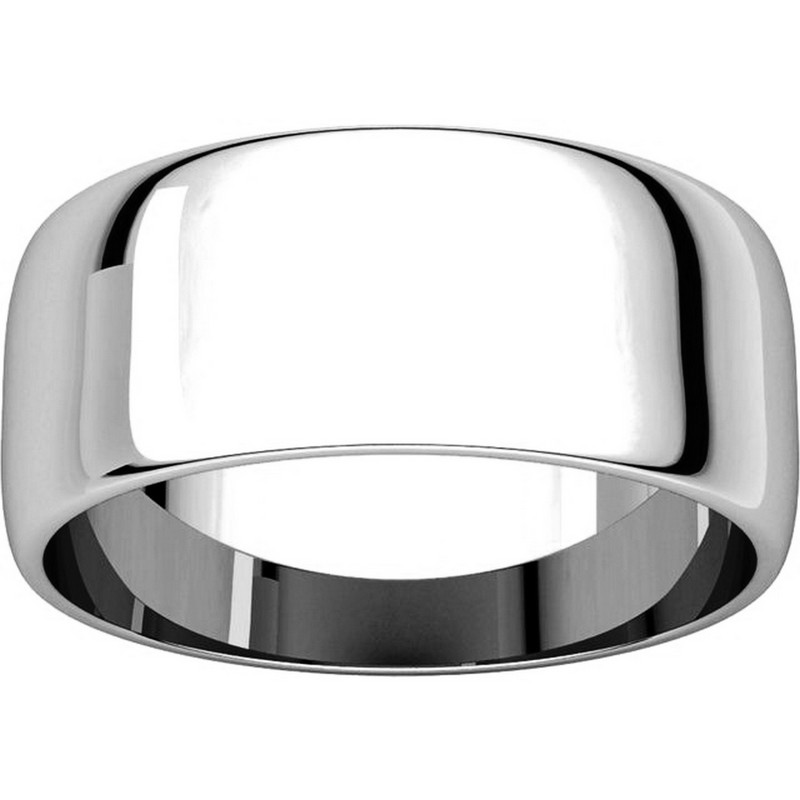 Item # S38457W - 14K White Gold 8.0mm Wide Wedding Band View-3