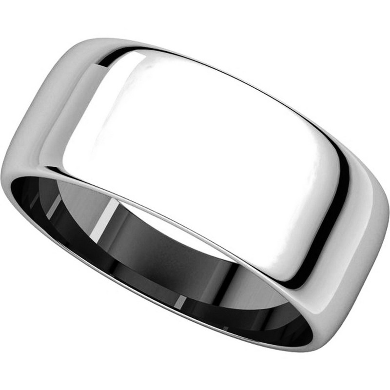 Item # S38457W - 14K White Gold 8.0mm Wide Wedding Band View-4
