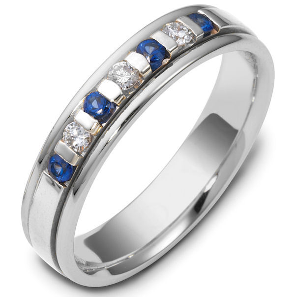 Blue Sapphire and Diamond Wedding Ring