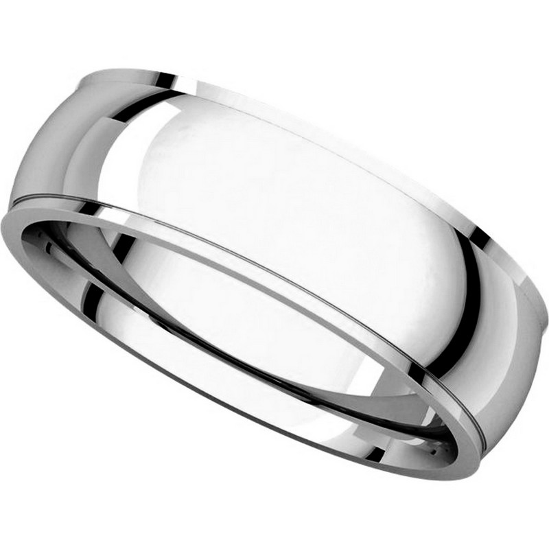Item # S5880W - 14K White Gold 8mm Wide Wedding Comfort Fit Band. View-4