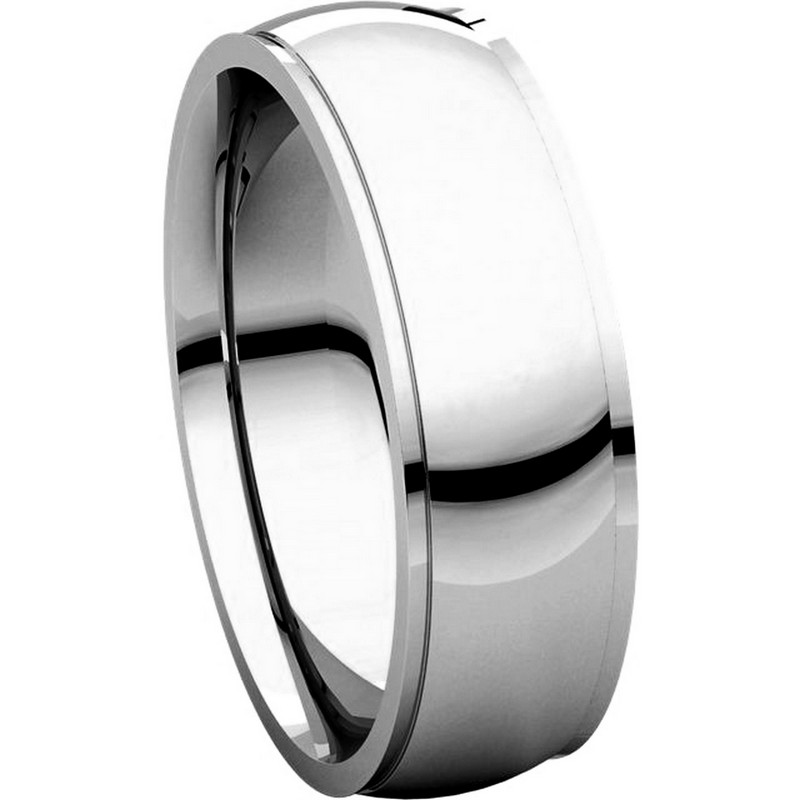 Item # S5880W - 14K White Gold 8mm Wide Wedding Comfort Fit Band. View-5