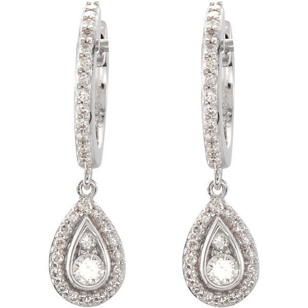 14Kt White Gold Teardrop Halo Dangle Earrings