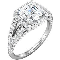 Item # S74604WE - 18K Asscher Shape Engagement Ring With Halo.