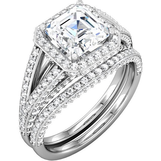18K Asscher Shape Engagement Ring With Halo.