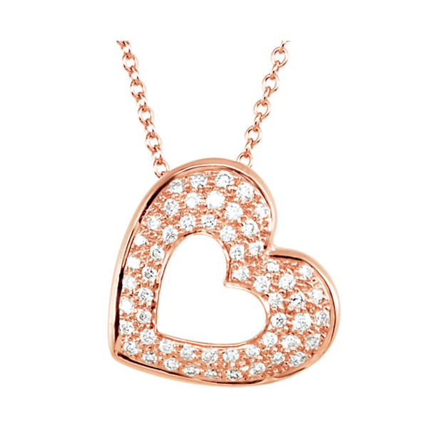 14Kt Rose Gold Heart Diamond Pendant