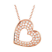 Item # S75631R - 14Kt Rose Gold Heart Diamond Pendant