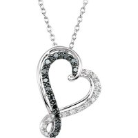 Item # S75634AG - Black and White Diamond Heart