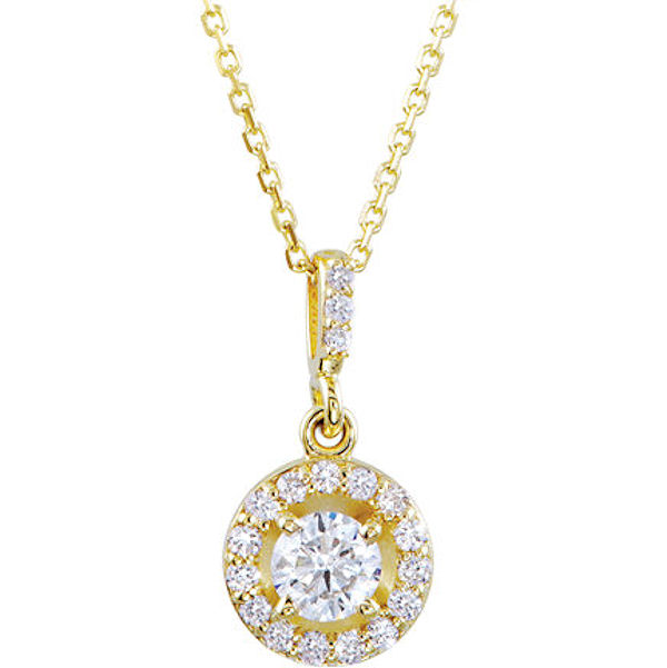14Kt Yellow Gold 0.50 Ct TW Halo Pendant