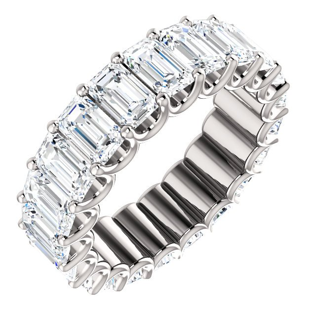 Item # SE128869700PP - Platinum Emerald Cut Diamond Eternity Band View-1