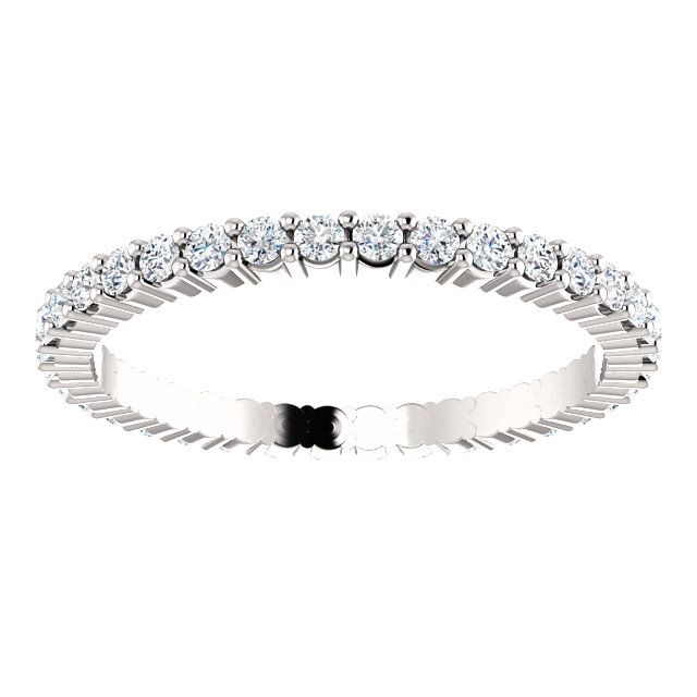 Item # SR127785050WE - 18K White Gold Eternity Band View-3