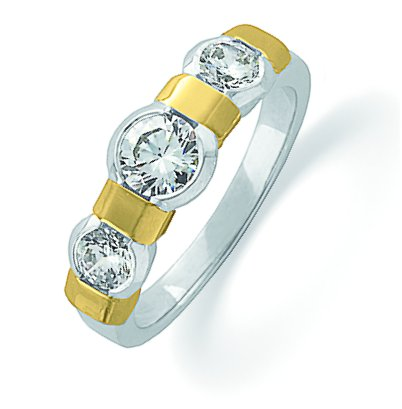 14K Gold Three Diamonds Anniversary Band