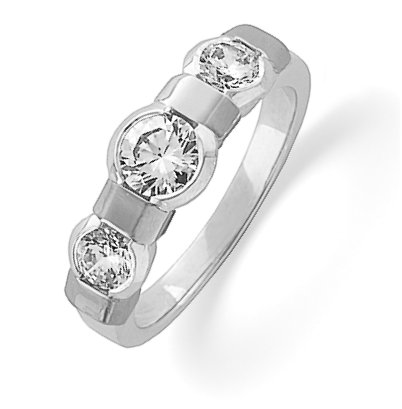 14K White Gold Three Diamonds Anniversary Band