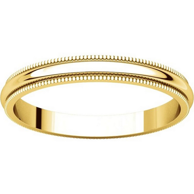 Item # T123841 - 14K Yellow Gold  2.5mm Milgrain Comfort Fit Wedding Band View-3