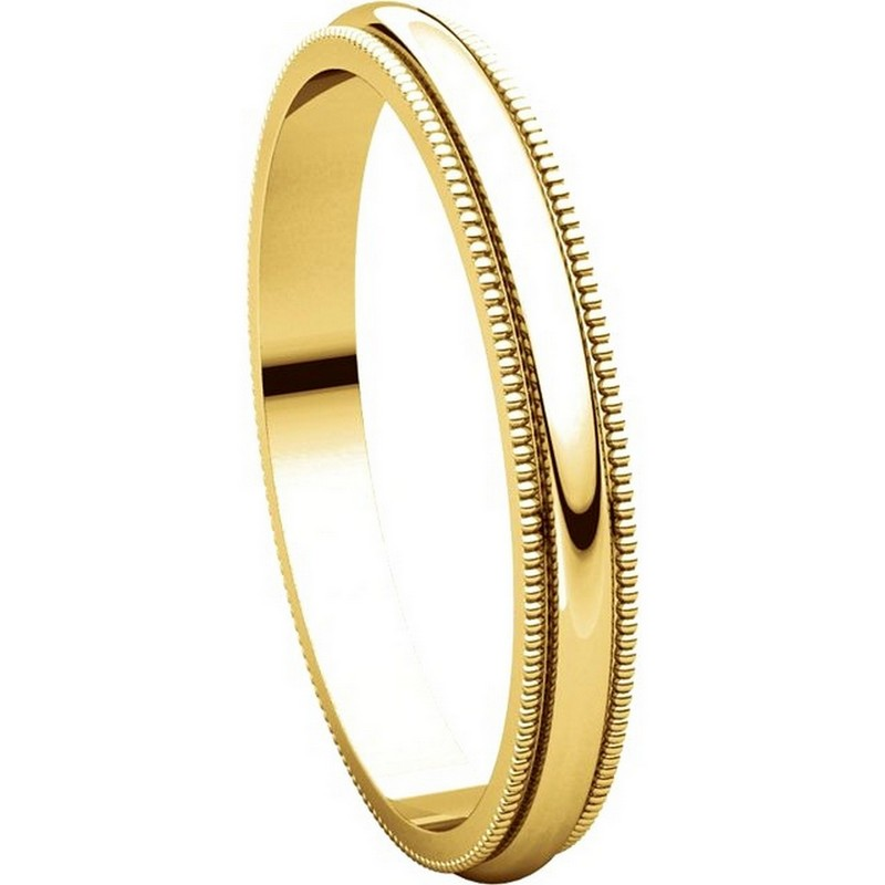 Item # T123841 - 14K Yellow Gold  2.5mm Milgrain Comfort Fit Wedding Band View-5