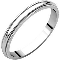 14K White Gold 2.5mm Wide Milgrain Comfort Fit Plain Wedding Band