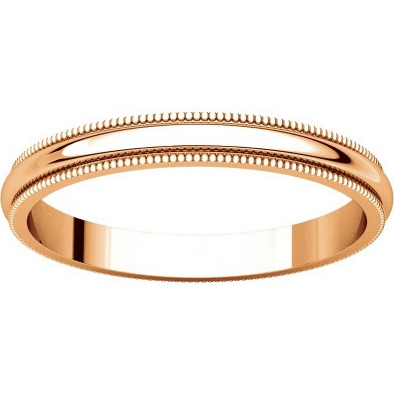 Item # T123841R - 14K Rose Gold 2.5mm Milgrain Comfort Fit Wedding Band View-3