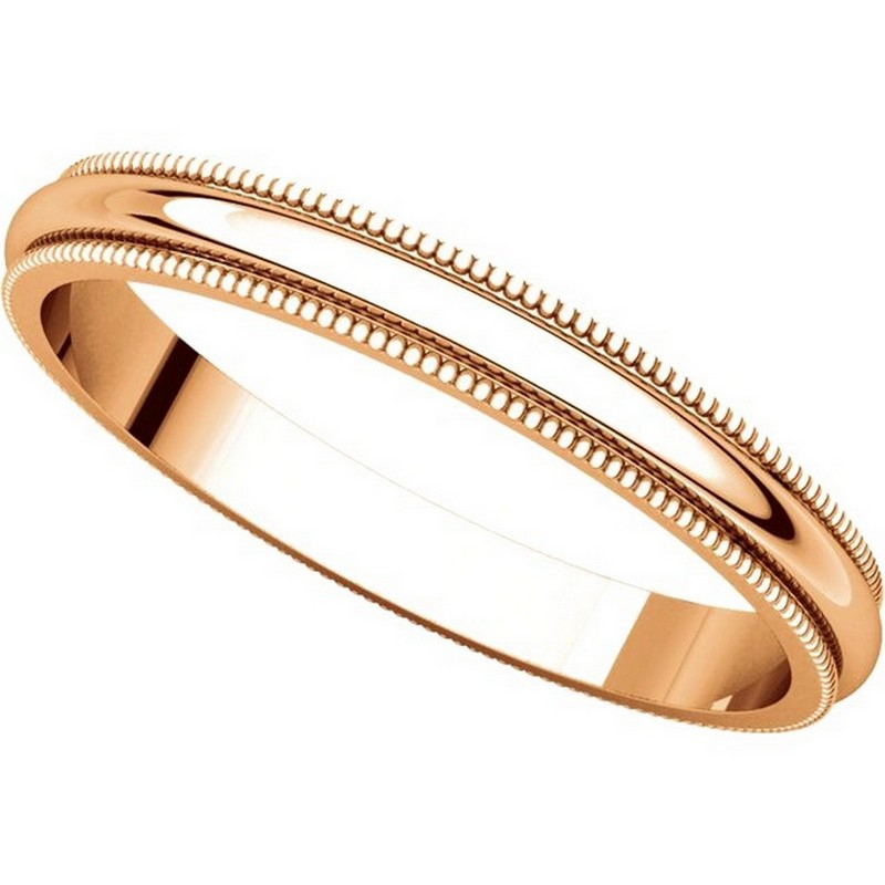 Item # T123841R - 14K Rose Gold 2.5mm Milgrain Comfort Fit Wedding Band View-4