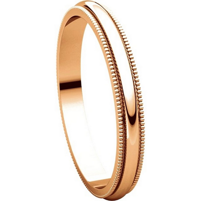 Item # T123841R - 14K Rose Gold 2.5mm Milgrain Comfort Fit Wedding Band View-5