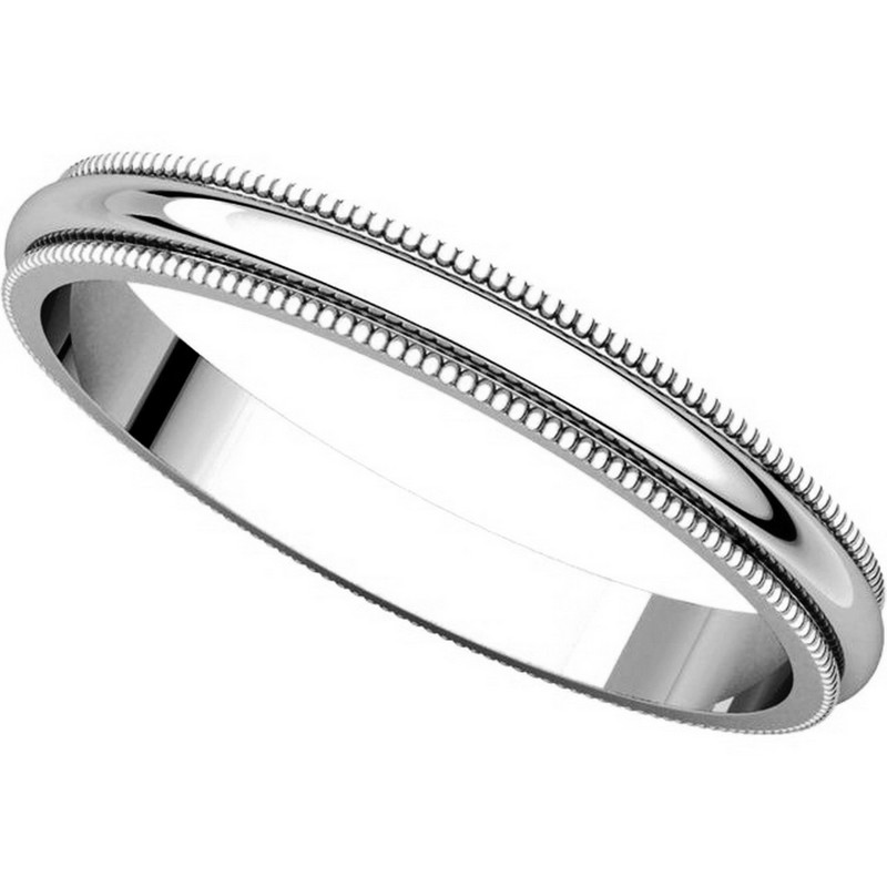 Item # T123841W - 14K White Gold  2.5mm Milgrain Comfort Fit Wedding Band View-4