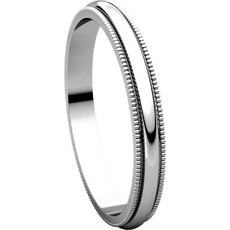 Item # T123841W - 14K White Gold  2.5mm Milgrain Comfort Fit Wedding Band View-5