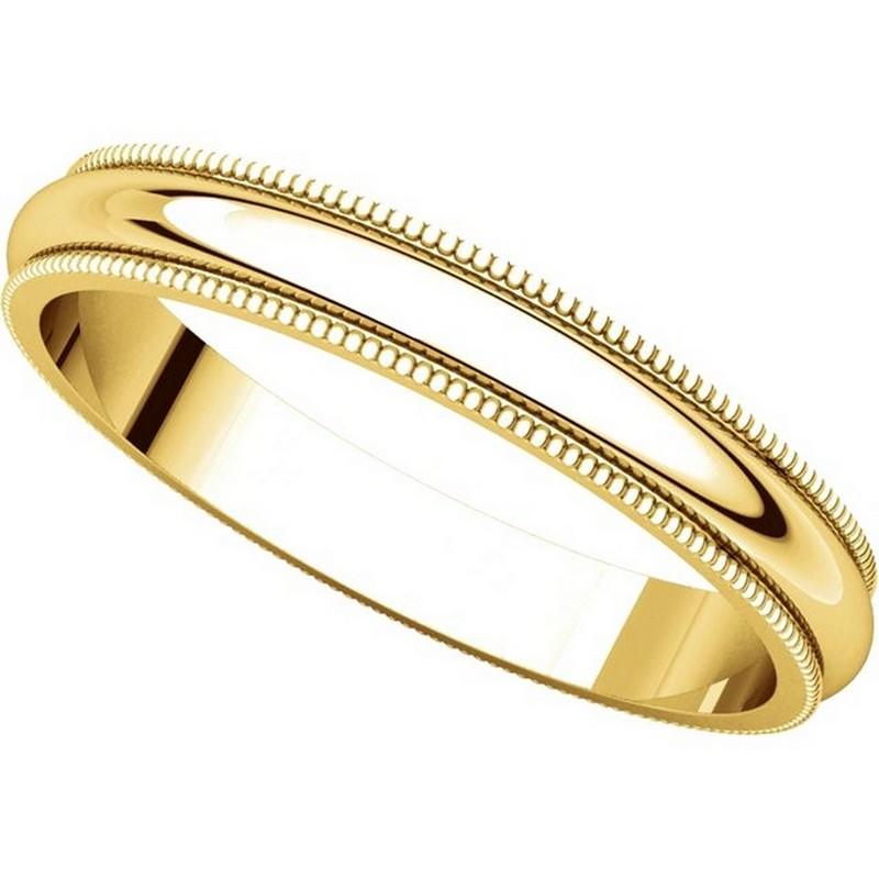 T123851e 18k Gold 3mm Milgrain Edge Comfort Fit Wedding Band