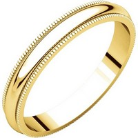 Plain Wedding Band 14K Yellow Gold 3mm Wide Milgrain Edge Comfort Fit