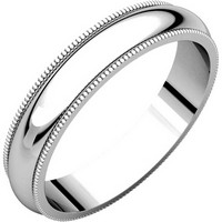 Platinum Traditional 4mm Wide Milgrain Comfort Fit Plain Wedding Band